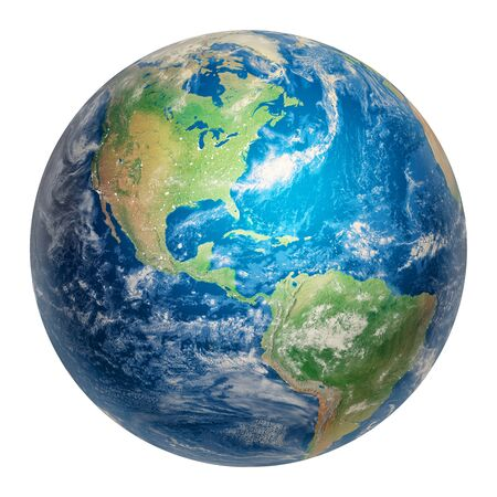 Earth from Space Showing the Americas. Clipart 3D Illustration. Parts of the Image Provided by NASA.