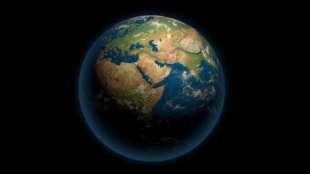 Terre globale sur le noir