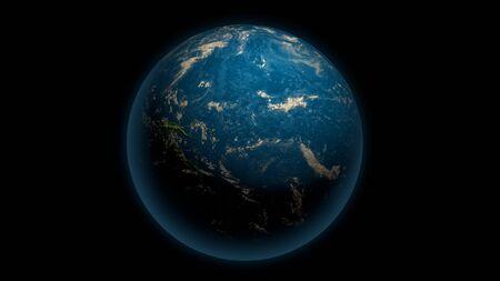 Global earth with Pacific Ocean on the black 版權商用圖片
