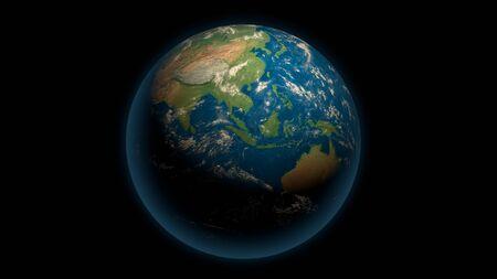 Global earth on the black