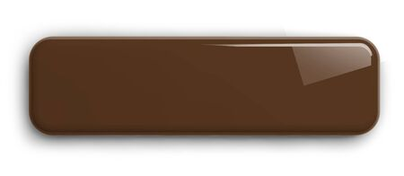 Brown Button Clipart Image. Rectangular Shiny Plate Isolated on White. Clipping path included. 3D illustration. 版權商用圖片