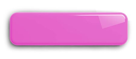 Pink Button Clipart Image. Rectangular Shiny Plate Isolated on White. Clipping path included. 3D illustration.