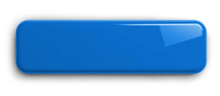 Blue Button Clipart Image. Rectangular Shiny Plate Isolated on White. Clipping path included. 3D illustration.