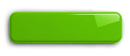 Light Green Button Clipart Image. Rectangular Shiny Plate Isolated on White. Clipping path included. 3D illustration.