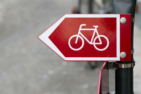 Bicycle Cycling Sign on Street and Urban Outdoors Background