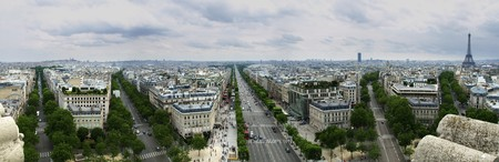 Photo taken from the top floor of the Arc de Triomphe Stock Photo