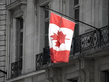 Canaian Flag in a Paris Building Stock Photo - 4190872