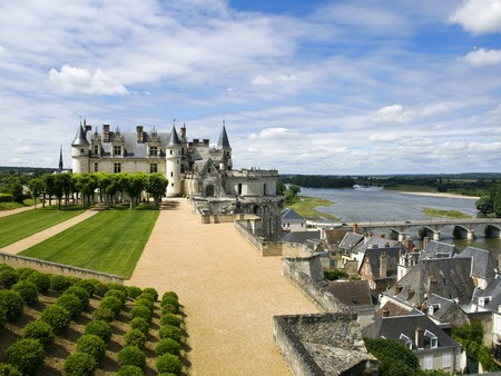 Nice view of Amboise Castle and the roofs of some beautiful medieval houses