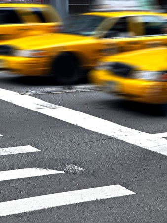 Motion Yellow CAbas in Manhattan Stock Photo