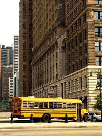 new school: School Bus in the streets of Manhattan Stock Photo