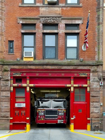 vintage truck: Fire Station in Manhattan