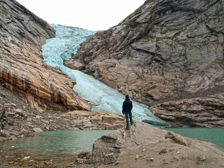 Mountaineer in Briksdal Glacier, Norway