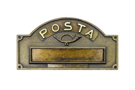 buzon: Vendimia placa de buz�n Foto de archivo
