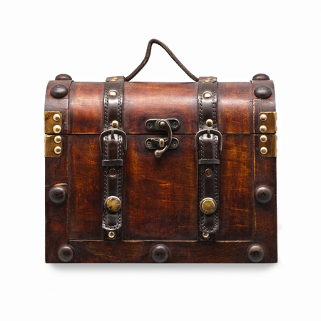 Wooden Vintage Chest isolated on white background Stock Photo