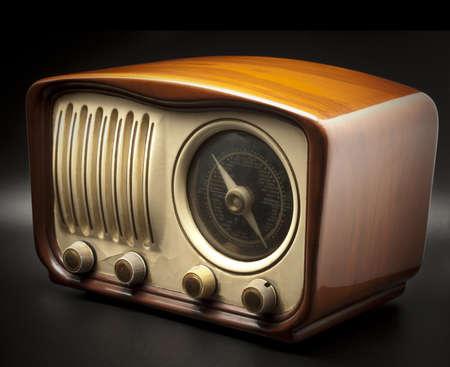 Vintage Radio on a black background photo
