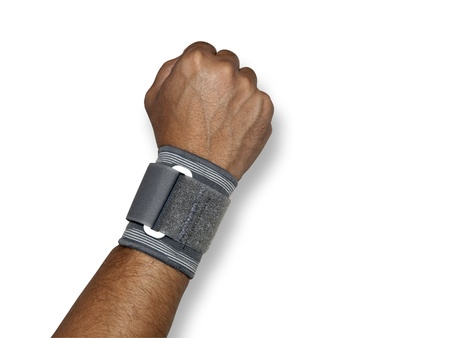 wristband: Human arm with a wristband isolated on white