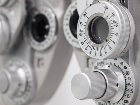 eye exam: Optometrist diopter in a laboratory