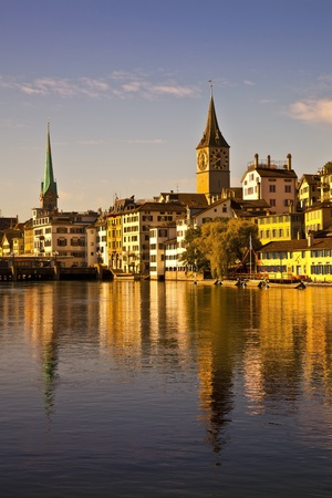 Morning light in Limmat River, Zurich photo