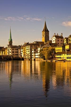 Morning light in Limmat River, Zurich photo