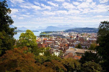 midair: Mid-Air View of Lucerne, Switzerland Stock Photo