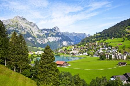 スイス連邦共和国でエンゲルベルグ村 写真素材