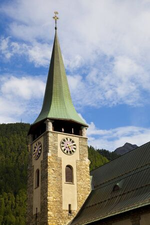 The Tower of Zermatt Churchi, Switzerland photo