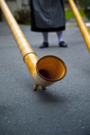 alphorn: The alphorn or alpenhorn or alpine horn is a labrophone, consisting of a natural wooden horn of conical bore, having a wooden cup-shaped mouthpiece, used by mountain dwellers in Switzerland and elsewhere.