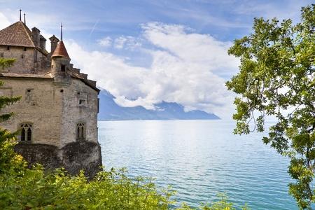 leman: Chillon Castle in the Leman Riviera, Switzerland Stock Photo