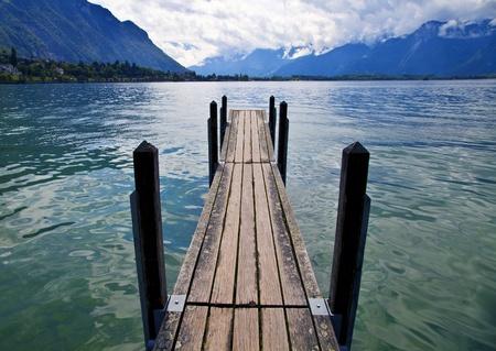 leman: Wooden Dock in Lake Leman, Switzerland