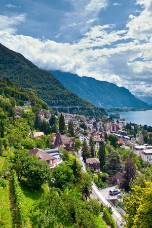 Montreux town and Lake Leman in Switzerland photo