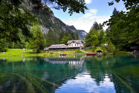 berner: Blausee Lake in the Berner Oberland, Switzerland Editorial