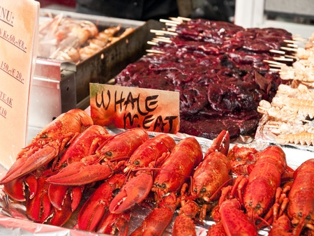Seafood on sale in the Bergen fishmarket photo
