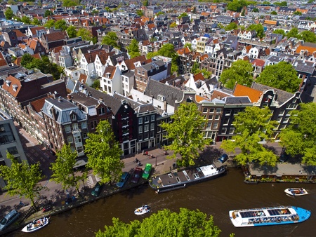 amsterdam canal: Aerial view of Amsterdam city in a beautiful sunny day Stock Photo