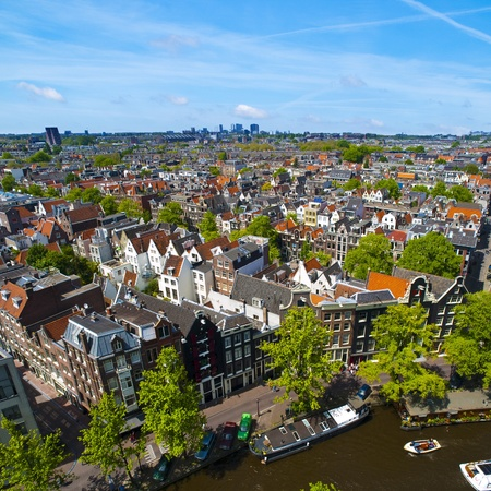 Aerial view of Amsterdam city in a beautiful sunny day Stock Photo