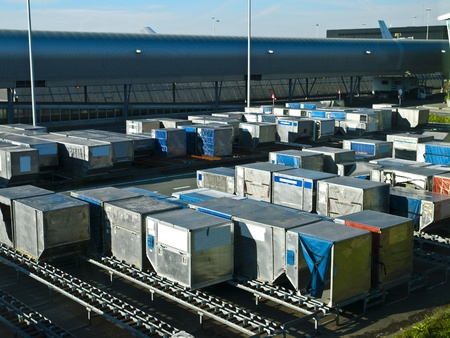 Airport Cargo Containers Stock Photo