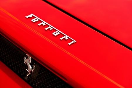 Ferrari Badge in a Ferrari Enzo Hood Editorial