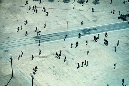 railtrack: People in Alexanderplatz, Berlin Stock Photo