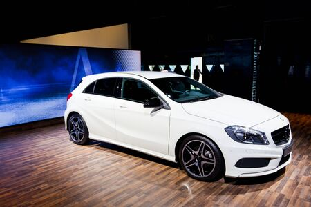 MADRID, SPAIN - MAY 25  The new Mercedes Benz A-Class with the AMG pack at the 2012 Madrid Auto Show Fair on May 25, 2012 in Madrid, Spain  Editorial