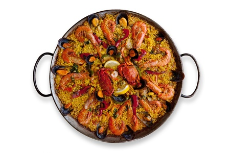 Isolated Traditional Spanish Paella