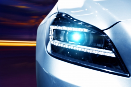 Futuristic Car Headlight Stock Photo