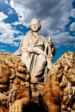 cibeles:  Cybele  Roman goddess of fertility, is the main part of Cibeles Fountain  designed by Ventura Rodríguez between 1777 and 1782 , and it is one of Madrid Stock Photo