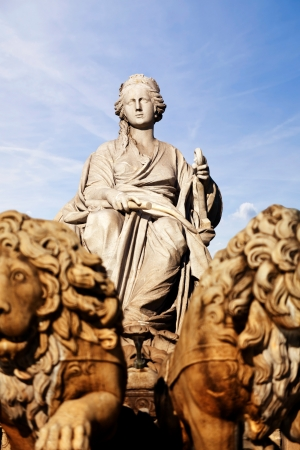Cybele  Roman goddess of fertility, is the main part of Cibeles Fountain  designed by Ventura Rodríguez between 1777 and 1782 , and it is one of Madrid photo