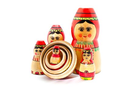 matryoshka: Collection of Antique Russian Dolls Stock Photo