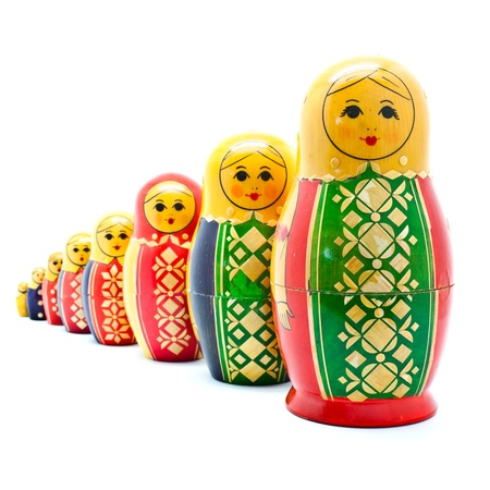 Collection of Antique Russian Dolls Stock Photo