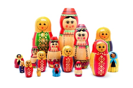 Collection of Antique Russian Dolls Reklamní fotografie
