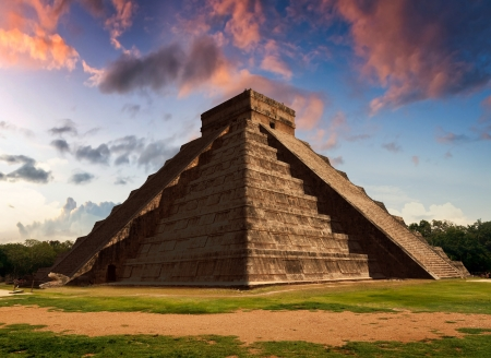 Representation of The Feather Serpent during spring equinox in Kukulkan Pyramid, Chichen Itza. This spectacular phenomenon occurs only twice a year: on 21 March and 22 September. During these two days the temple of Kukulkan at Chichen Itza lives a mysteri