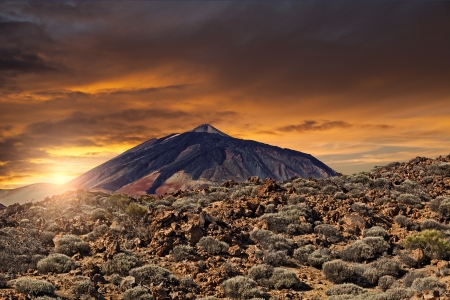 Scenic View of Teide Mountain at Sunset