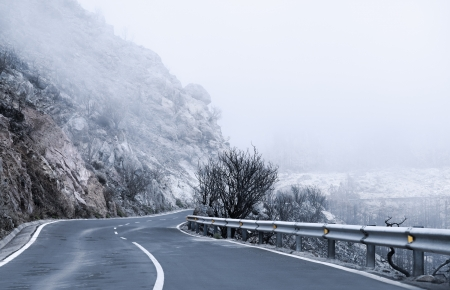 Winter Foggy Winding Road in Tenerife  photo