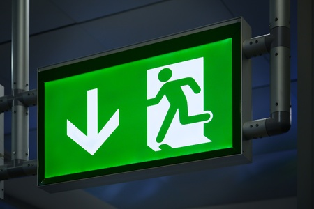 out of doors: Exit Sign in an Airpot Terminal