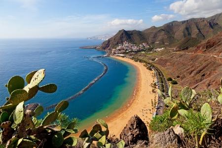 Widok z plaży Las Teresitas, Teneryfa, Hiszpania